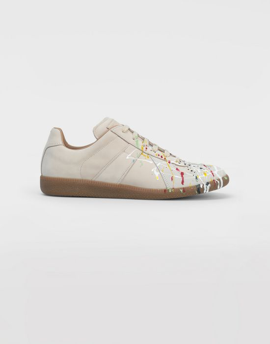 MAISON MARGIELA Suede paint drop 'Replica' sneakers Sneakers [*** pickupInStoreShippingNotGuaranteed_info ***] f