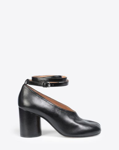 MAISON MARGIELA Closed-toe slip-ons Woman Black leather strapped Tabi heels f
