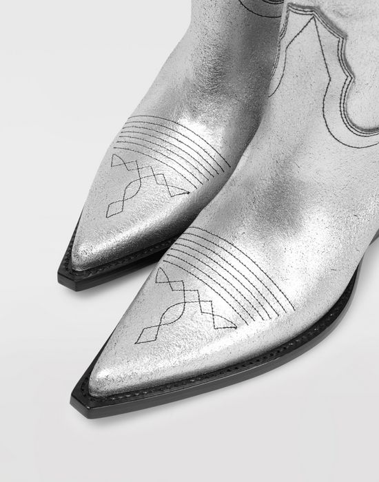 MAISON MARGIELA Silver cowboy boots Ankle boots [*** pickupInStoreShipping_info ***] a