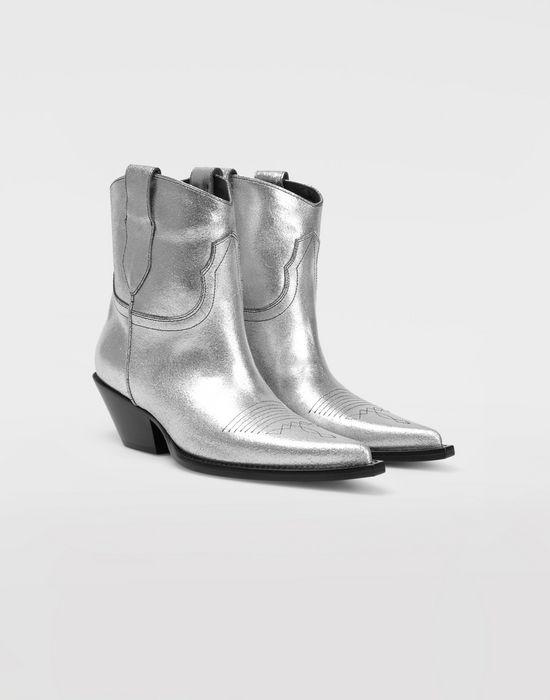 MAISON MARGIELA Silver cowboy boots Ankle boots [*** pickupInStoreShipping_info ***] d