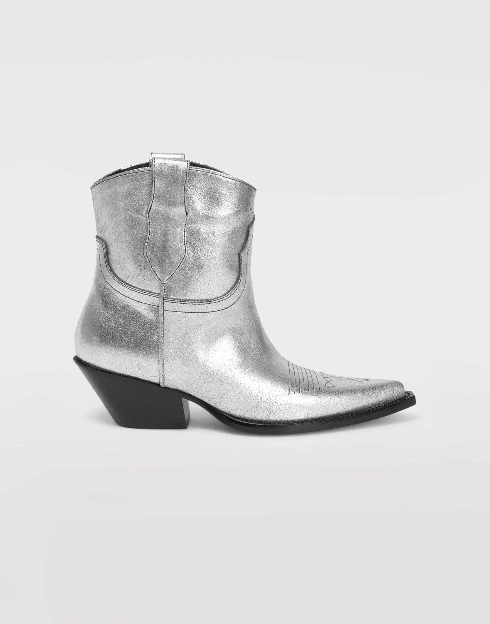 MAISON MARGIELA Silver cowboy boots Ankle boots Woman f