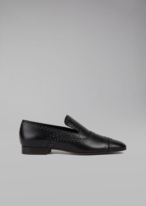 Calfskin loafer with decorative studs