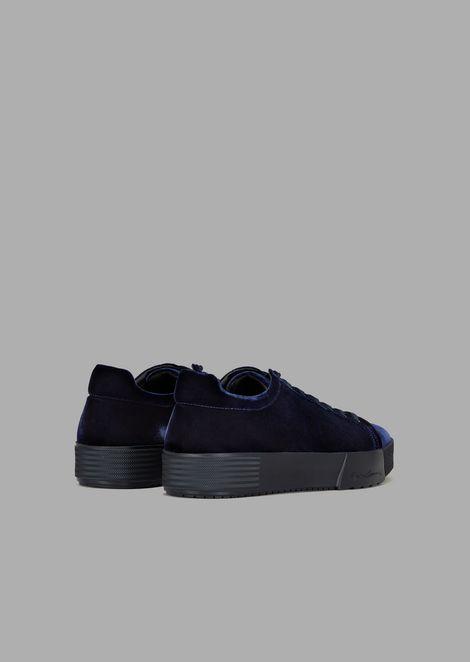 Sneakers in velluto con logo impresso sulla para