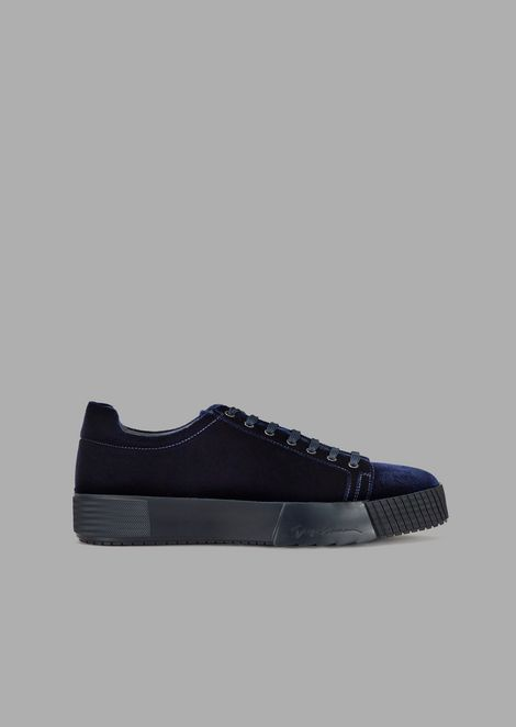 Velvet sneakers with logo embossed on the side sole