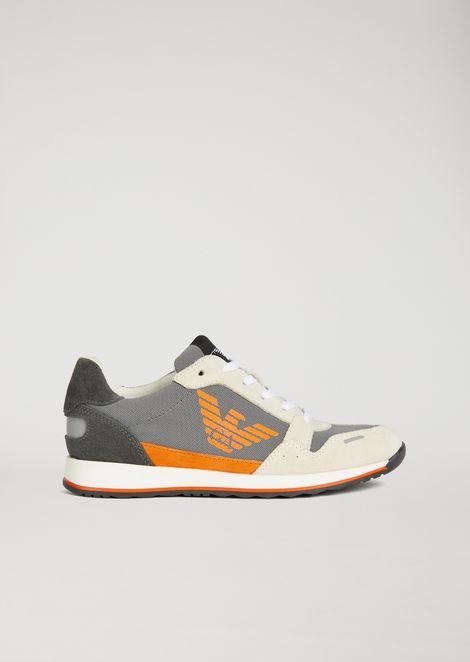 Sneakers logotypées en cuir suédé et tissu technique