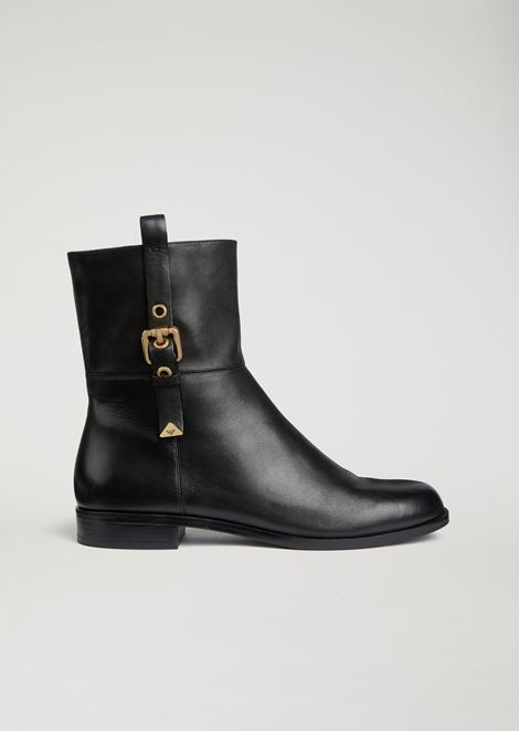 Nappa ankle boots with side strap