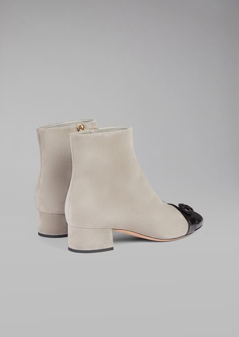 Suede leather half boot with patent toe and logo detail