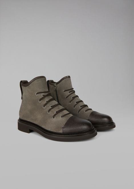 Combat boot in caviar leather with tumbled leather inlays