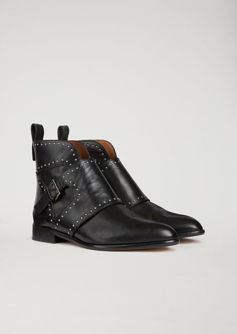 Leather ankle boot with buckle and stud detailing