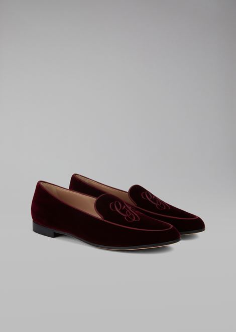 Velvet loafer with embroidered GA logo and contrast piping