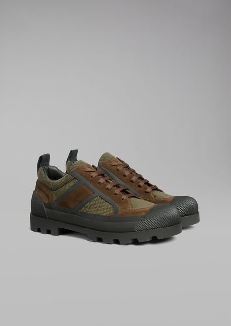 Sneaker in mesh with suede inlays and rubber sole