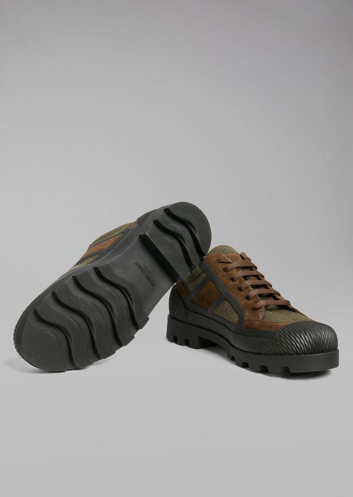 Giorgio Armani - Sneakers de malla con inserciones de ante y suela de goma - 5