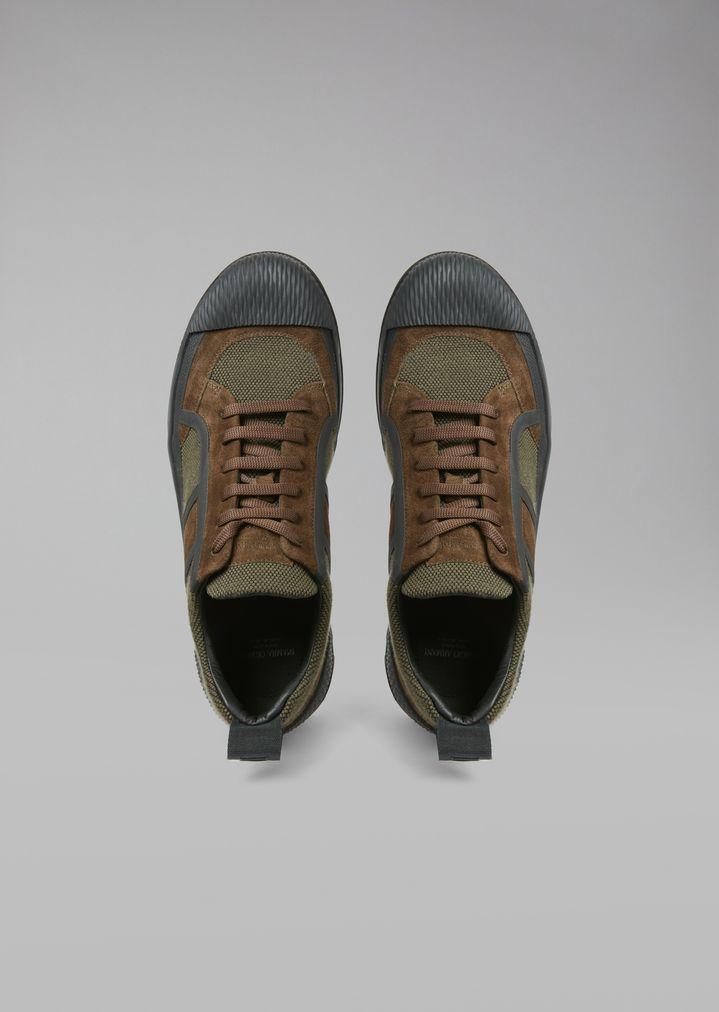 Giorgio Armani - Sneakers de malla con inserciones de ante y suela de goma - 4