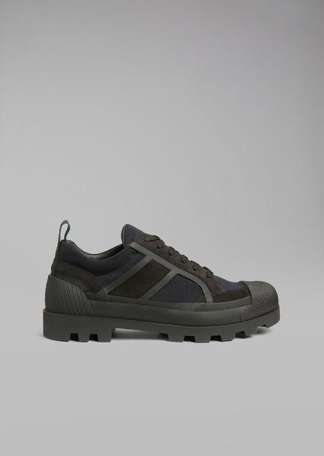 Сетчатые кроссовки с замшевыми вставками и резиновой подошвой