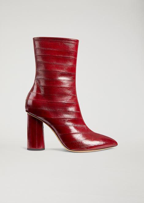Ankle boot in eel skin with geometric heel