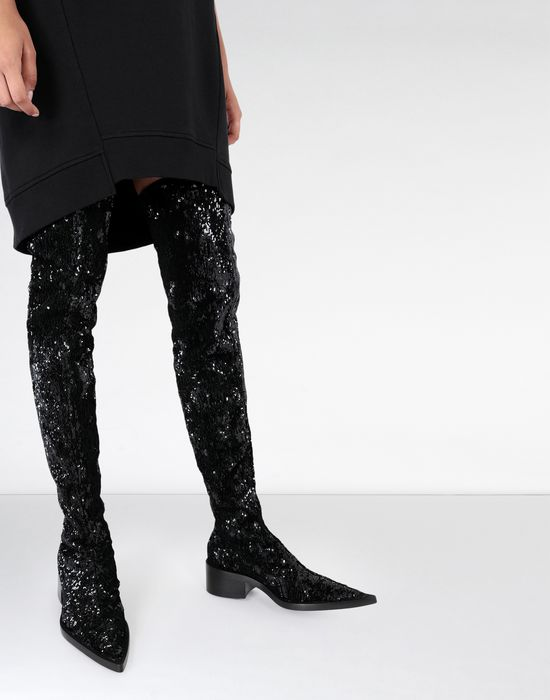 MM6 MAISON MARGIELA Sequined thigh-high boots Boots [*** pickupInStoreShipping_info ***] b