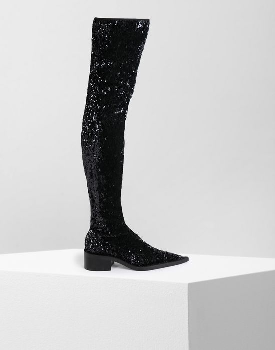 MM6 MAISON MARGIELA Sequined thigh-high boots Boots [*** pickupInStoreShipping_info ***] f