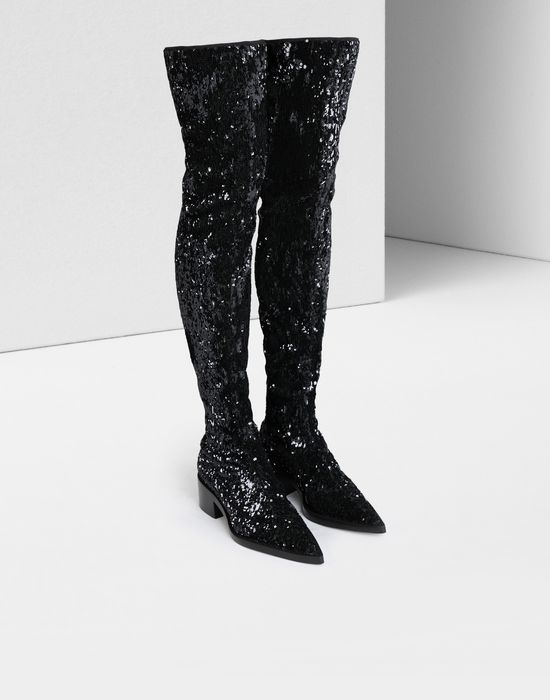 MM6 MAISON MARGIELA Sequined thigh-high boots Boots [*** pickupInStoreShipping_info ***] r