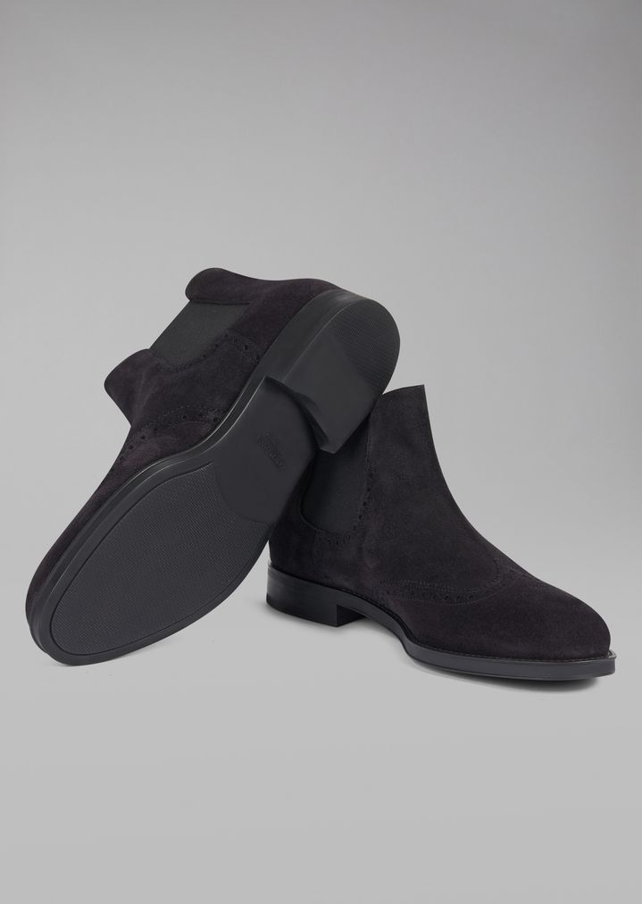GIORGIO ARMANI Suede Beatles boot with wingtip broguing Ankle Boots Man a