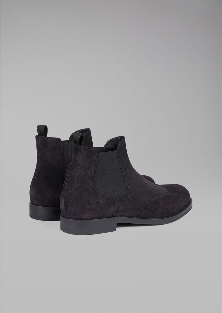 GIORGIO ARMANI Suede Beatles boot with wingtip broguing Ankle Boots Man d