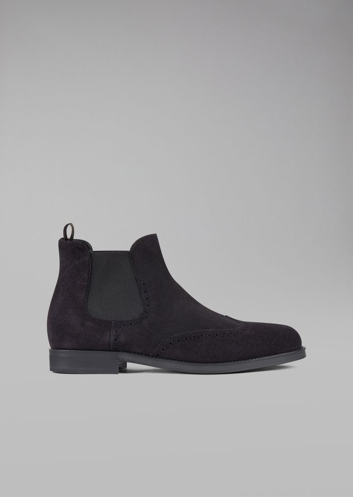 GIORGIO ARMANI Suede Beatles boot with wingtip broguing Ankle Boots Man f