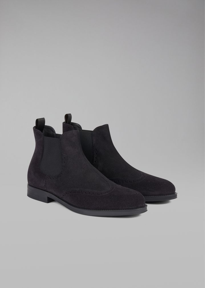GIORGIO ARMANI Suede Beatles boot with wingtip broguing Ankle Boots Man r