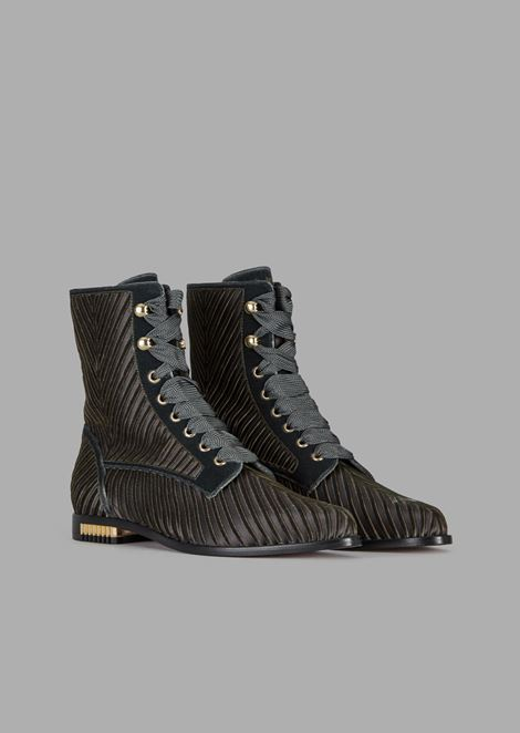 Velvet combat boots with a chevron design and plissé heel