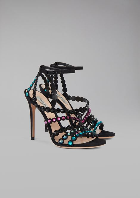 Sandal with suede heel and coloured rhinestones