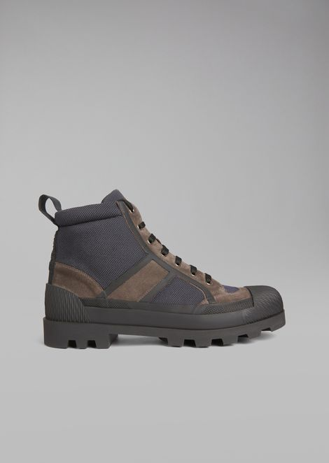 Mesh boots with suede inserts and rubber sole