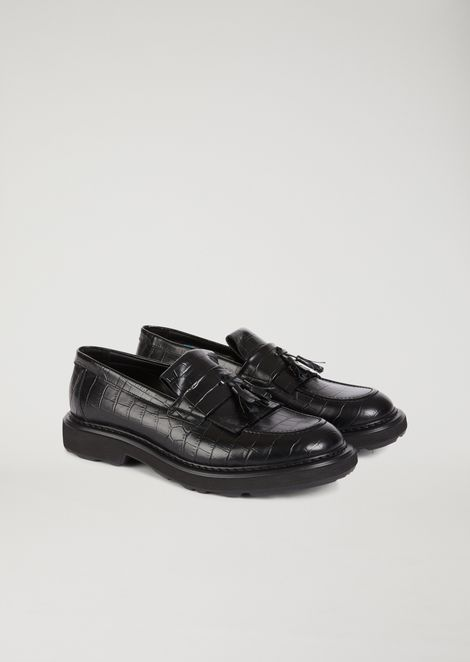 Crocodile-print leather loafers with tassels