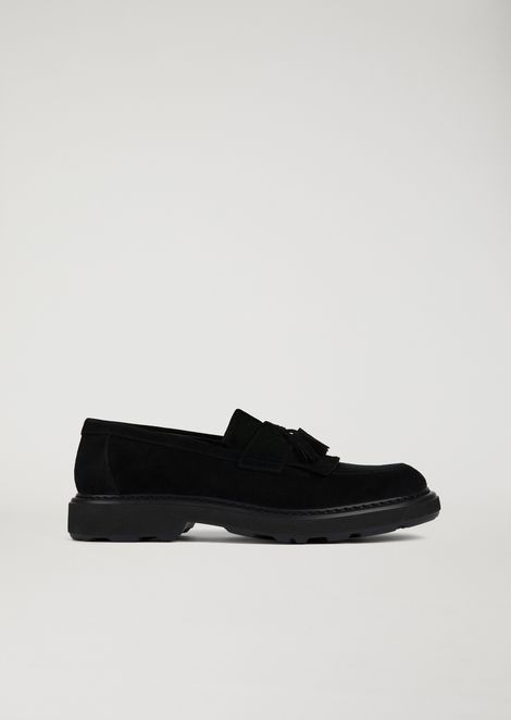 Suede leather loafers with tassels