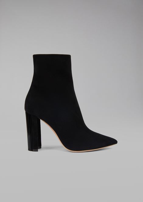 Half boot in suede leather with pleated heel