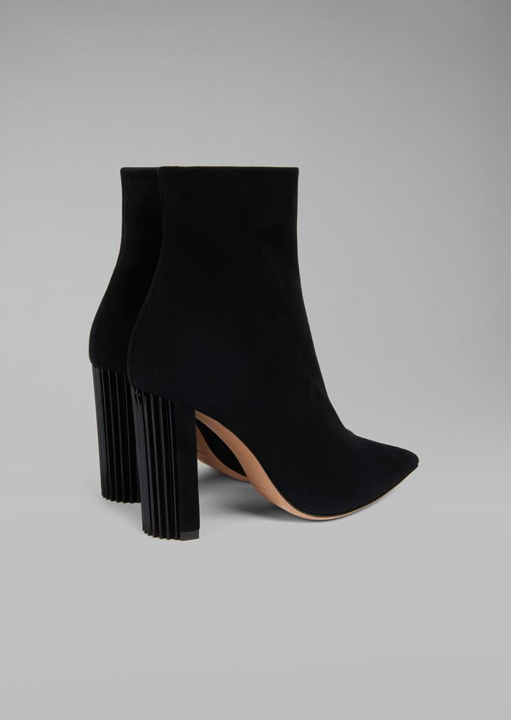 bb13ea6921 Half boot in suede leather with pleated heel