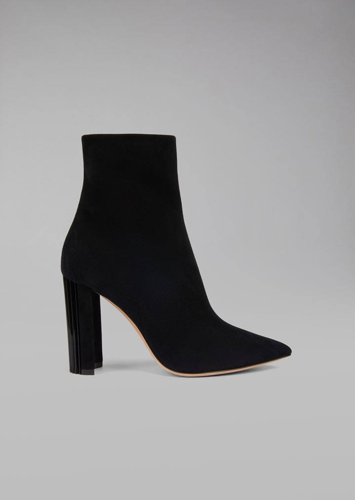 a58088597c01 Half boot in suede leather with pleated heel