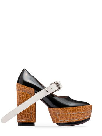 Marni Mary-Jane in brushed calfskin with staples Woman