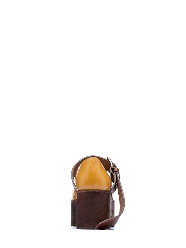 Marni Mary-Jane in brushed calfskin with wood-effect wedge Woman
