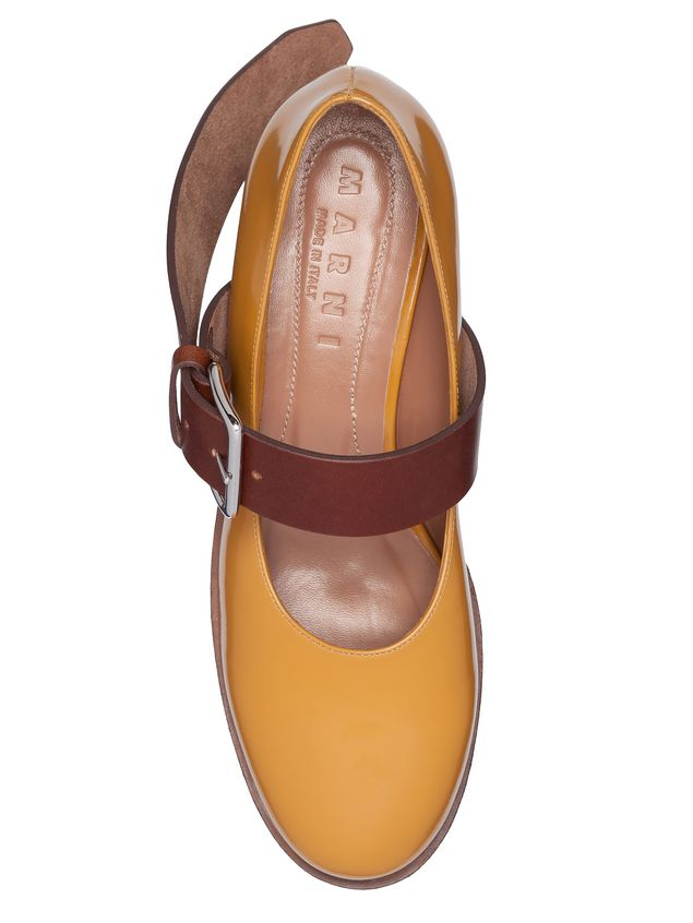 Marni Mary-Jane in brushed calfskin with wood-effect wedge Woman - 4
