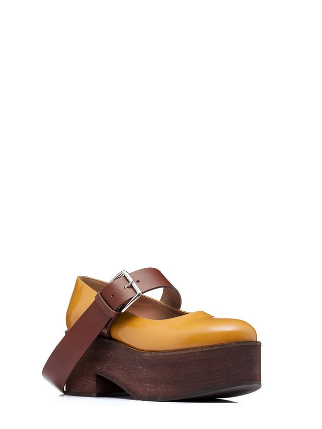 Marni Mary-Jane in brushed calfskin with wood-effect wedge Woman - 2