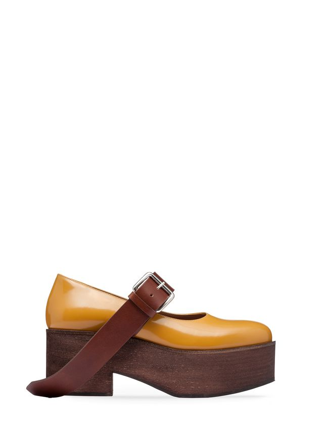 Marni Mary-Jane in brushed calfskin with wood-effect wedge Woman - 1