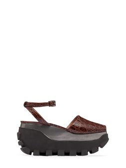 Marni Open-toe wedge in croc print calfskin Woman