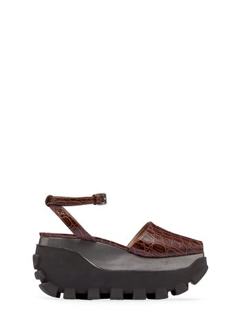 Marni Open-toed wedge in croc embossed calfskin Woman