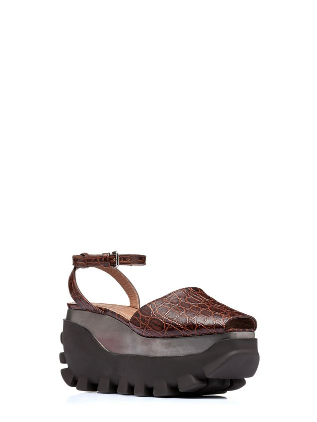 Marni Open-toe wedge in croc print calfskin Woman - 2
