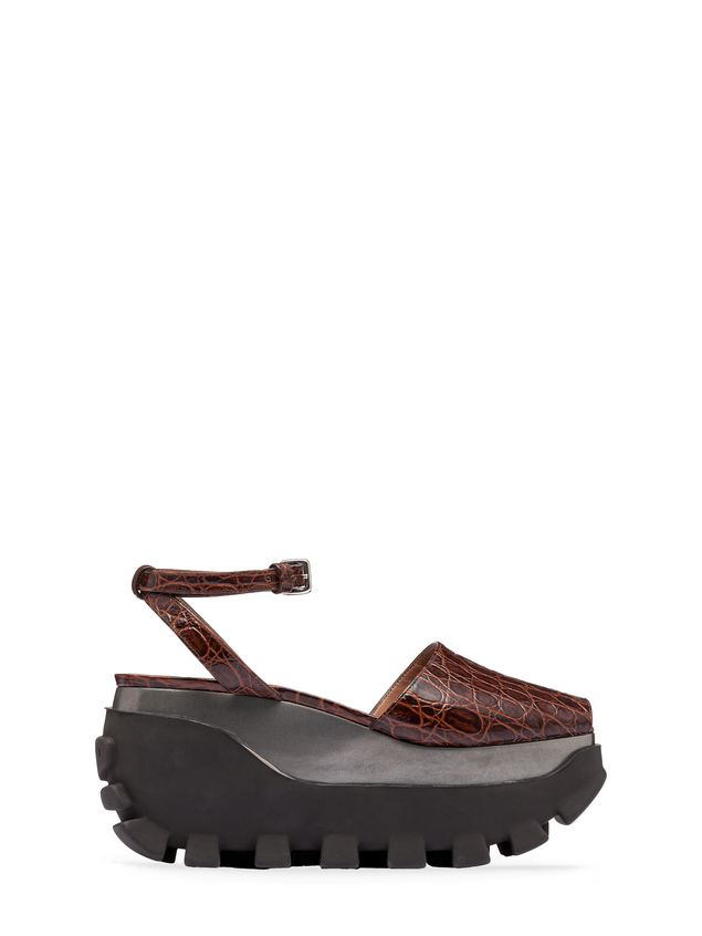 Marni Open-toe wedge in croc print calfskin Woman - 1