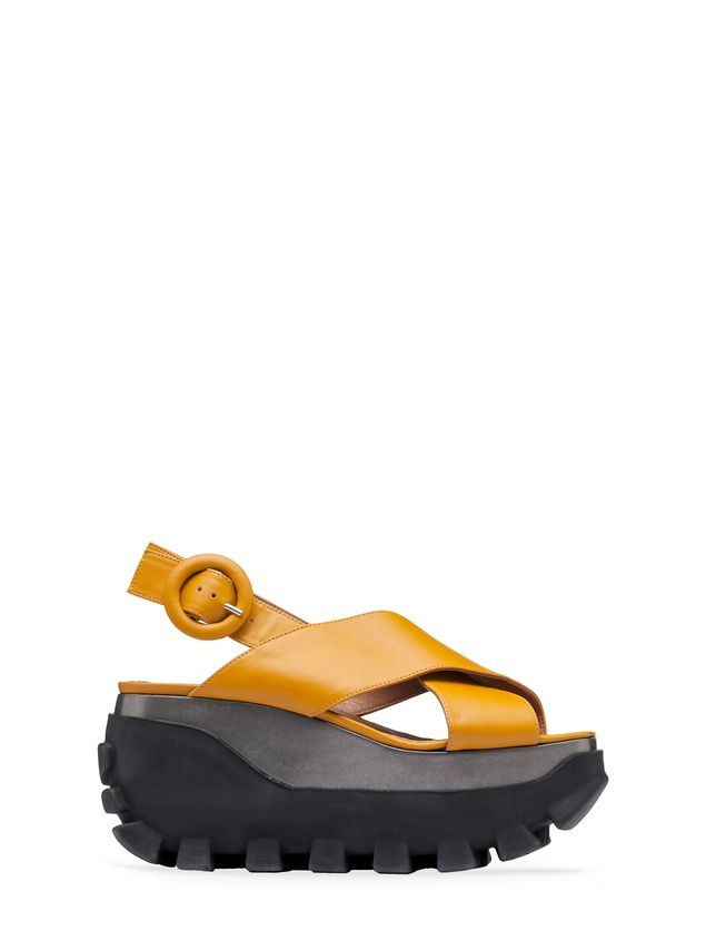Marni Cross-over wedge in calfskin Woman - 1