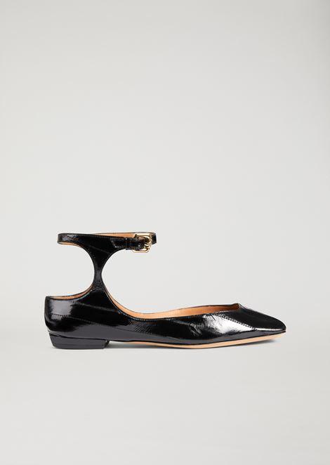 Ballerine in pelle di anguilla con cinturino alla caviglia