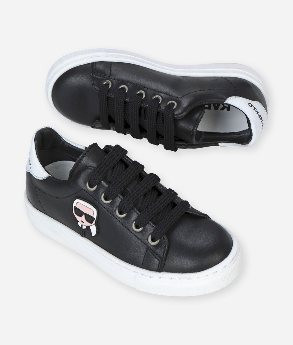 KARL LAGERFELD K/IKONIK LEATHER SNEAKERS Kids' Shoes Man f