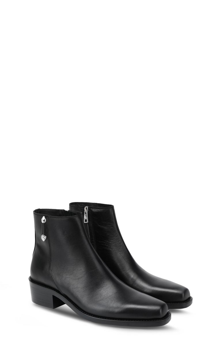 JUST CAVALLI Leather ankle boot with piercing Ankle boots Man r