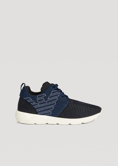 Running shoes with embroidered Emporio Armani eagle