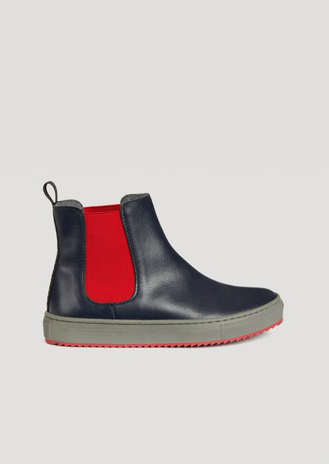 Leather ankle boots with contrasting elastic inserts