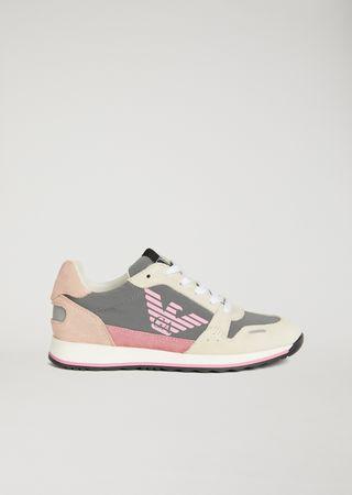 5aa50ef4d37d Sneakers logotypées en cuir suédé et tissu technique   Unisexe   Emporio  Armani